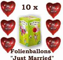 10 x Folien Herzballons+Helium Just Married