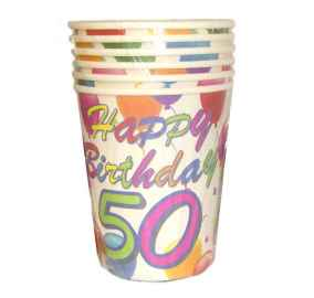 Happy Birthday 6x Trinkbecher mit Zahl 50