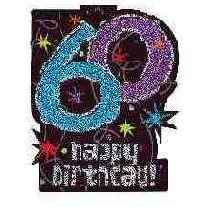 Happy Birthday Glitzer Schild 60