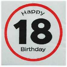 Happy Birthday 18 - Servietten Verkehrsschild