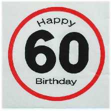 Happy Birthday 60 - Servietten Verkehrsschild