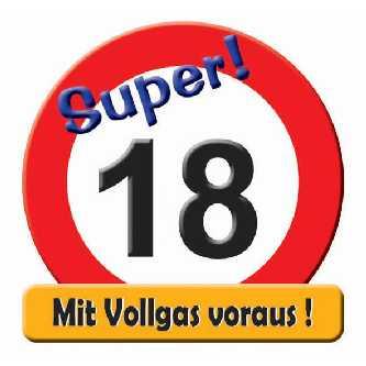 Geburtstag Schild Zahl 18