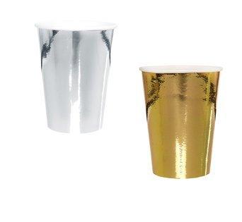 Goldene Hochzeit Metallic Pappbecher