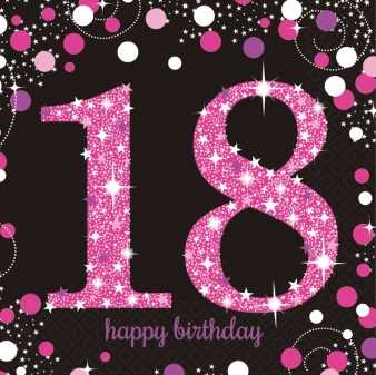 Happy Birthday Sparkling Servietten 18 pink
