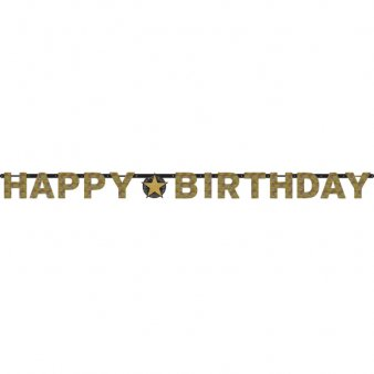 Happy Birthday Girlande, Sparkling gold