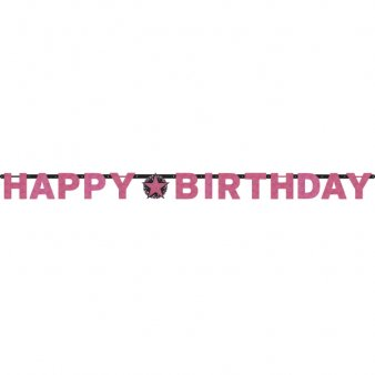 Happy Birthday Girlande, Sparkling pink