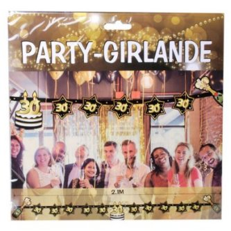 Party Girlande 30, schwarz/gold