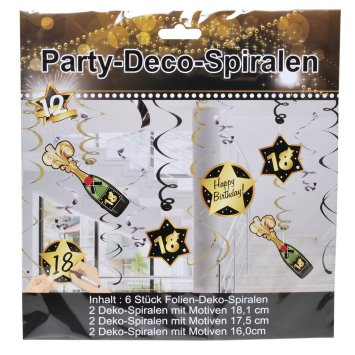 Party-Spirale 18, schwarz/gold, 12-tlg.