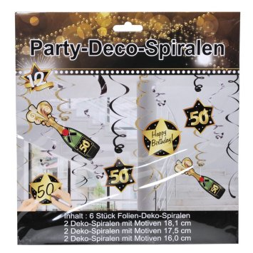 Party-Spirale 50, schwarz/gold, 12-tlg.