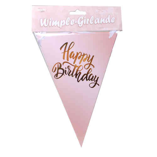 Wimpel-Girlande Happy Birthday, rosegold