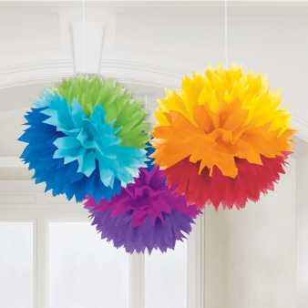 Rainbow Fluffy Pompoms Deko