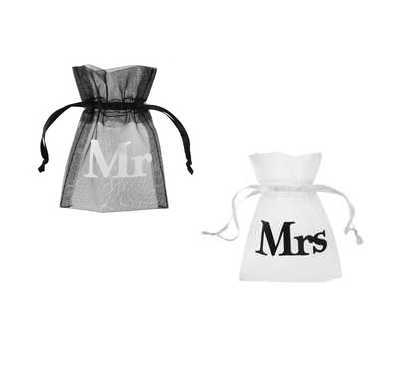 Mr. oder Mrs. Give away Organza Beutel