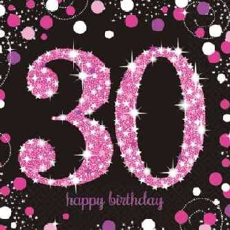Happy Birthday Sparkling Servietten 30,pink