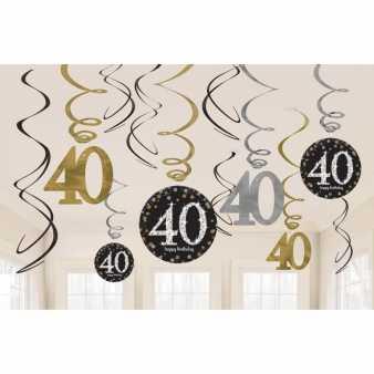 Sparkling Swirl Deko Zum 40 Geburtstag Gold