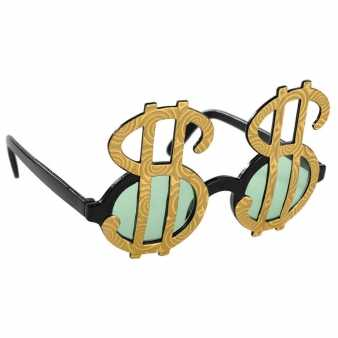 Goldfarbene Dollar Fun Brille