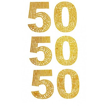 Glitzersticker 50, gold