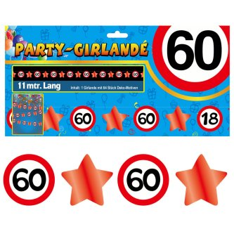 Party Glitter Girlande Zahl 60