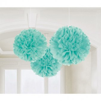 Pompoms Fluffy türkis im 3 er Set, 40 cm