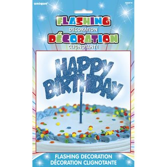 LED-Tortendeko Happy Birthday in Blau