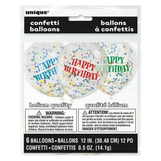Ballons mit Konfetti Happy Birthday