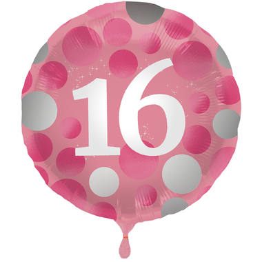 Ballon Glossy Happy Birthday 16, pink