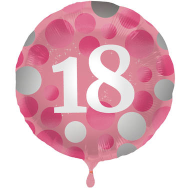 Ballon Glossy Happy Birthday 18, pink