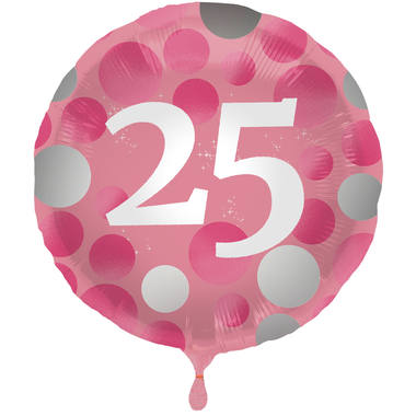 Ballon Glossy Happy Birthday 25, pink