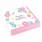 Servietten Happy Birthday Pastellfarben, 25 cm