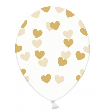 Motivballons Clear - Ø 30cm - Hearts - Gold
